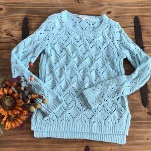 Sky blue crochet sweater | LOFT